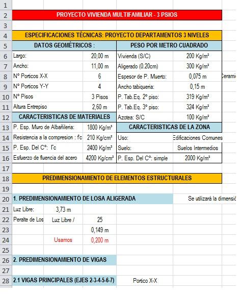 Plantilla Excel: Diseño de Vigas y Losa Aligeradas