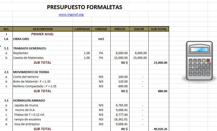 Hoja de excel presupuesto formaletas - Precios de estructuras de hormigon ...