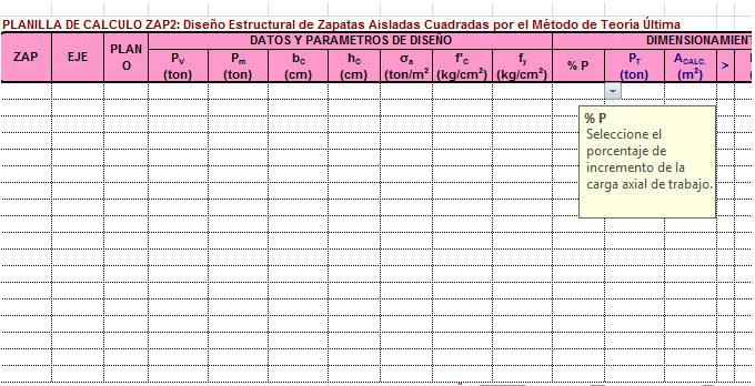 Plantilla de Excel – Diseño de Zapata Aislada Cuadrada